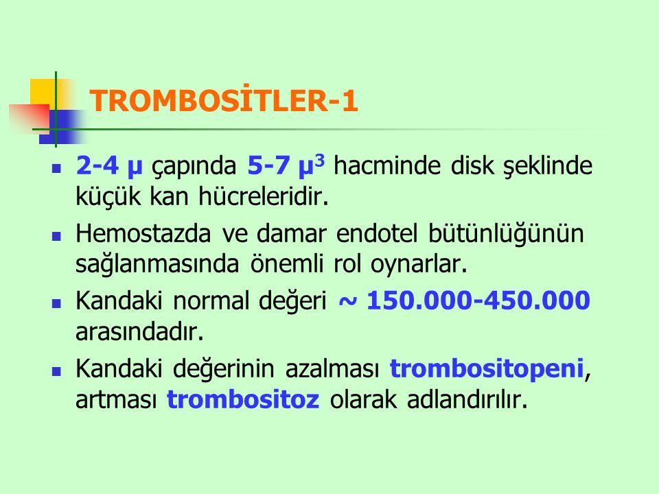 TROMBOSİTLER-1 2-4 µ çapında 5-7 µ 3 hacminde disk şeklinde küçük kan hücreleridir.