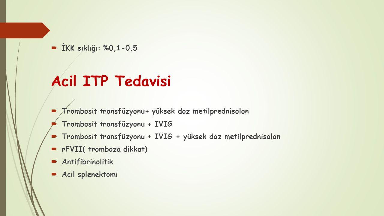 Acil ITP Tedavisi  İKK sıklığı: %0,1-0,5  Trombosit transfüzyonu+ yüksek doz metilprednisolon  Trombosit transfüzyonu + IVIG  Trombosit transfüzyo