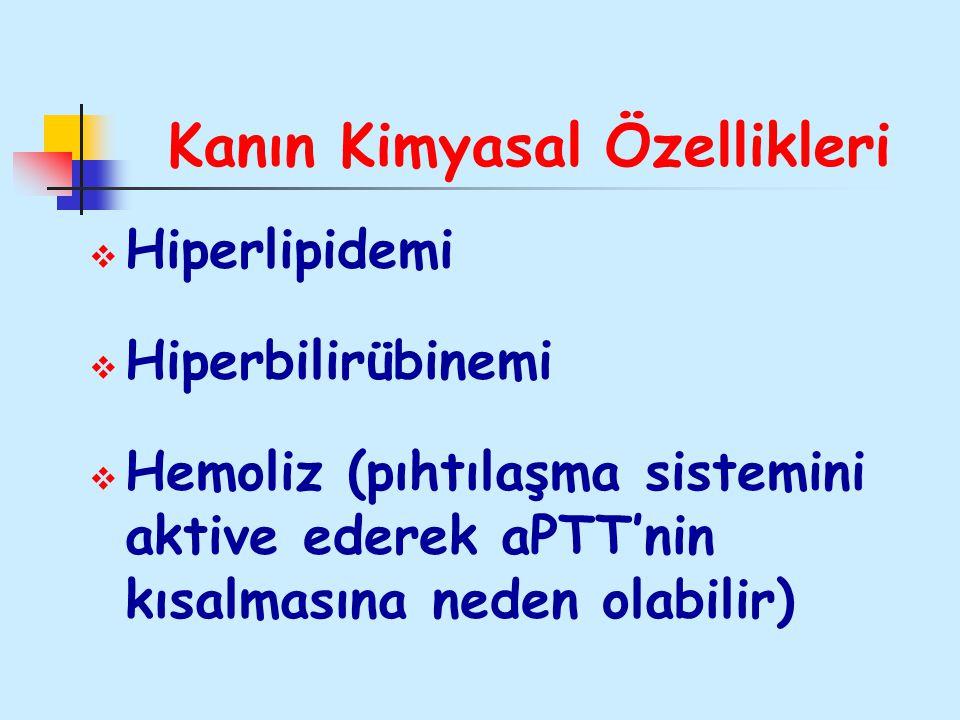 Kanın Kimyasal Özellikleri  Hiperlipidemi  Hiperbilirübinemi  Hemoliz (pıhtılaşma sistemini aktive ederek aPTT'nin kısalmasına neden olabilir)