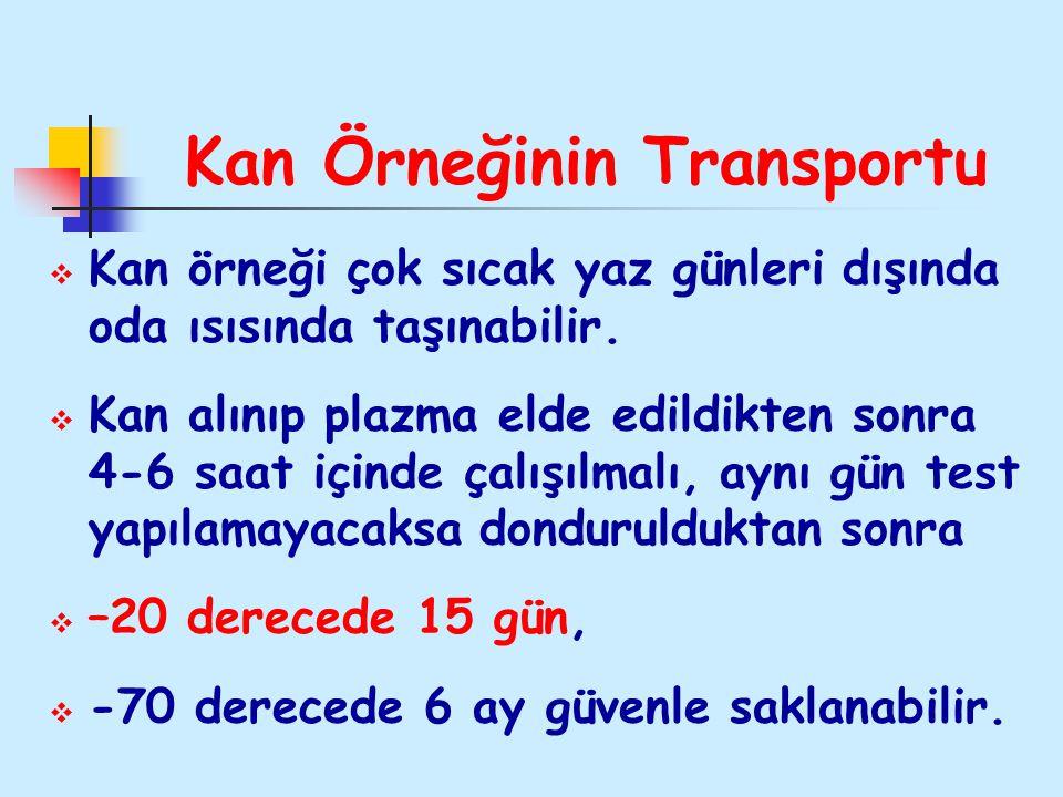 Kan Örneğinin Transportu  Kan örneği çok sıcak yaz günleri dışında oda ısısında taşınabilir.  Kan alınıp plazma elde edildikten sonra 4-6 saat içind