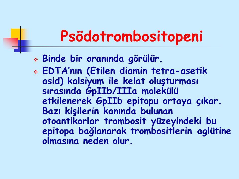 Psödotrombositopeni  Binde bir oranında görülür.  EDTA'nın (Etilen diamin tetra-asetik asid) kalsiyum ile kelat oluşturması sırasında GpIIb/IIIa mol