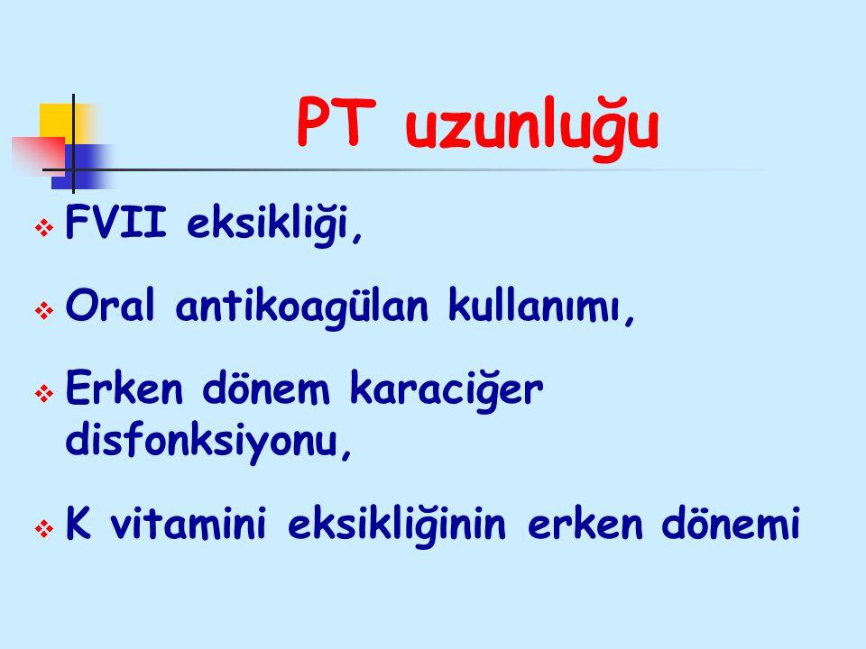 PT uzunluğu  FVII eksikliği,  Oral antikoagülan kullanımı,  Erken dönem karaciğer disfonksiyonu,  K vitamini eksikliğinin erken dönemi