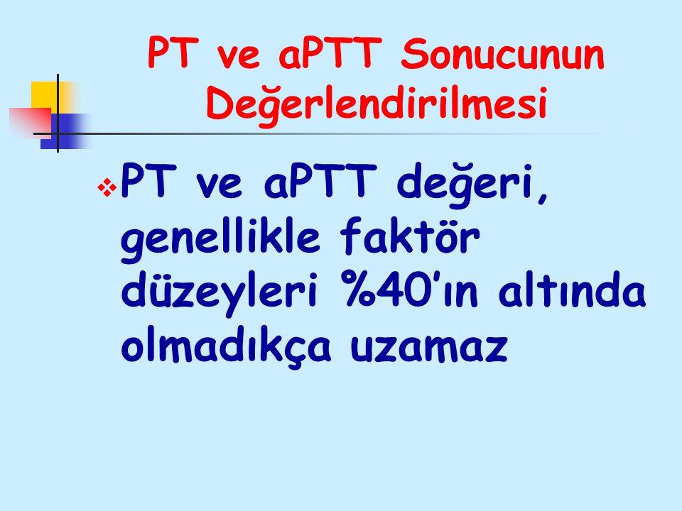 PT ve aPTT Sonucunun Değerlendirilmesi  PT ve aPTT değeri, genellikle faktör düzeyleri %40'ın altında olmadıkça uzamaz