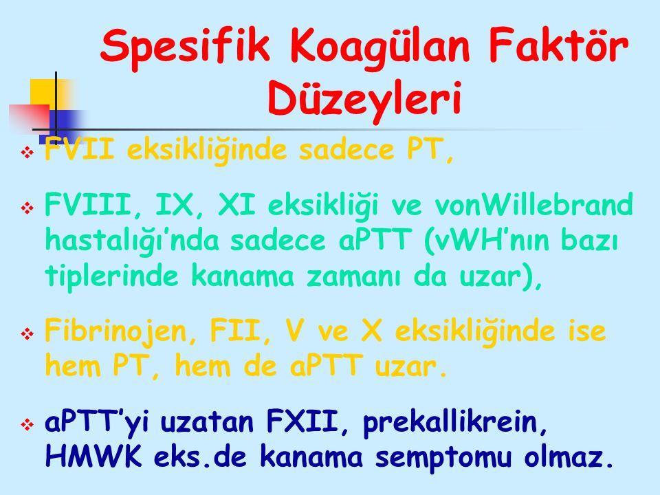 Spesifik Koagülan Faktör Düzeyleri  FVII eksikliğinde sadece PT,  FVIII, IX, XI eksikliği ve vonWillebrand hastalığı'nda sadece aPTT (vWH'nın bazı t
