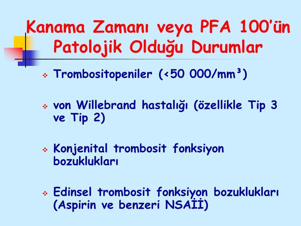 Kanama Zamanı veya PFA 100'ün Patolojik Olduğu Durumlar  Trombositopeniler (<50 000/mm³)  von Willebrand hastalığı (özellikle Tip 3 ve Tip 2)  Konj