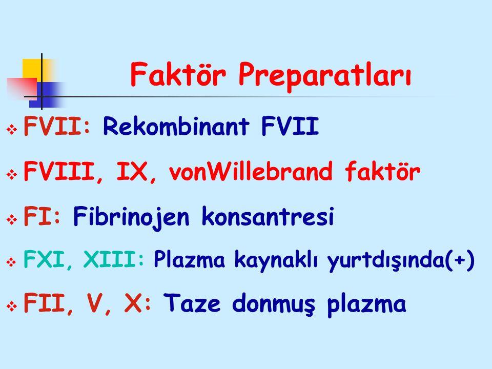 Faktör Preparatları  FVII: Rekombinant FVII  FVIII, IX, vonWillebrand faktör  FI: Fibrinojen konsantresi  FXI, XIII: Plazma kaynaklı yurtdışında(+