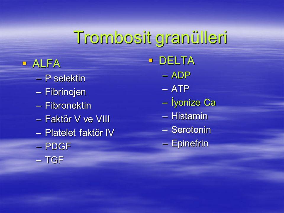 Trombosit granülleri  ALFA –P selektin –Fibrinojen –Fibronektin –Faktör V ve VIII –Platelet faktör IV –PDGF –TGF  DELTA –ADP –ATP –İyonize Ca –Histamin –Serotonin –Epinefrin