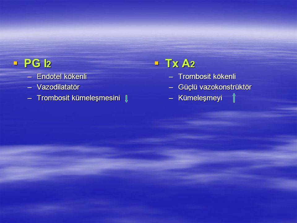  PG I 2 –Endotel kökenli –Vazodilatatör –Trombosit kümeleşmesini  Tx A 2 –Trombosit kökenli –Güçlü vazokonstrüktör –Kümeleşmeyi
