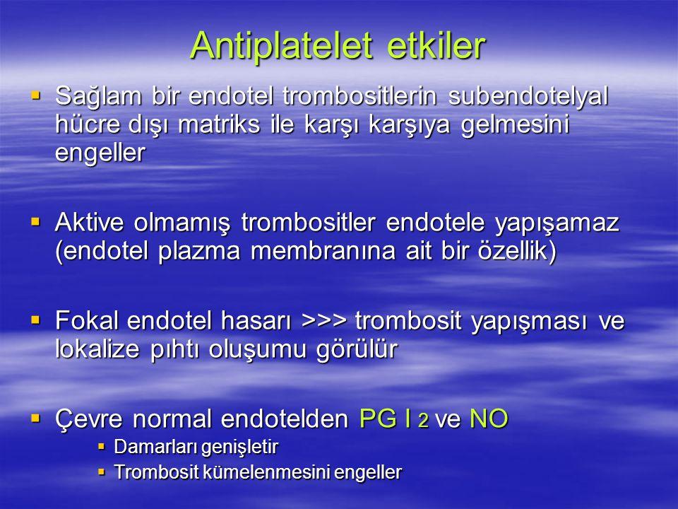 Antiplatelet etkiler  Sağlam bir endotel trombositlerin subendotelyal hücre dışı matriks ile karşı karşıya gelmesini engeller  Aktive olmamış trombositler endotele yapışamaz (endotel plazma membranına ait bir özellik)  Fokal endotel hasarı >>> trombosit yapışması ve lokalize pıhtı oluşumu görülür  Çevre normal endotelden PG I 2 ve NO  Damarları genişletir  Trombosit kümelenmesini engeller