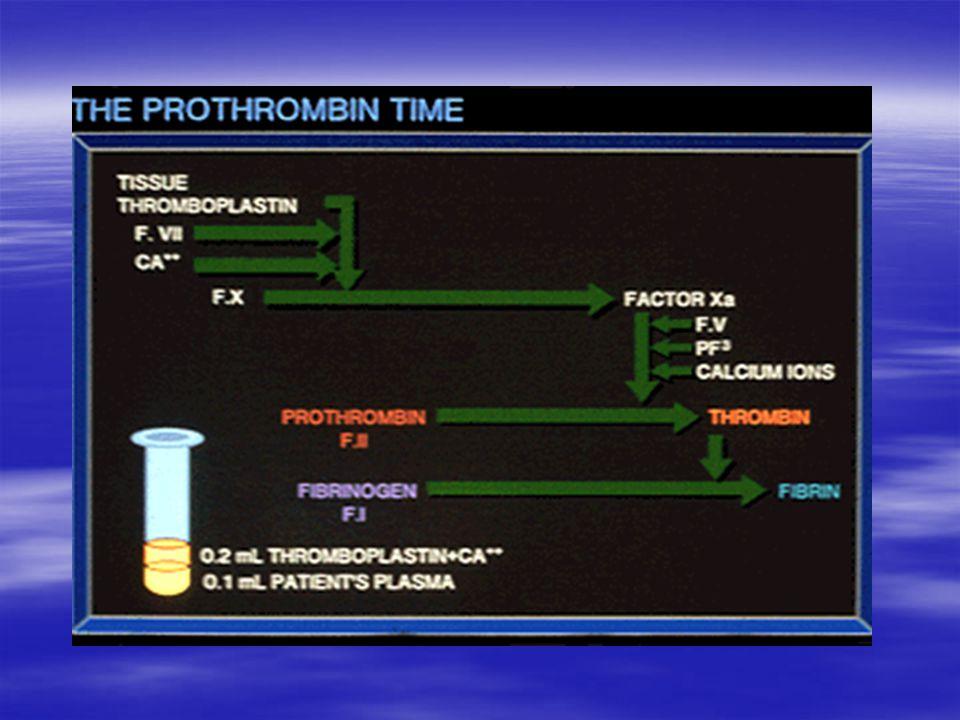 Parsiyel Tromboplastin Zamanı   Fosfolipid, yüzey aktivatörü (kaolin), ve Ca++ sitratlı plazmaya eklenir – –Kontakt bağımlı faktör olan Faktör XII'yi aktive – –Saniyeler ölçülür – –İntrinsek yolu ölçer – –Faktörler VIII, IX, XI, XII   Ortak yolu ölçer