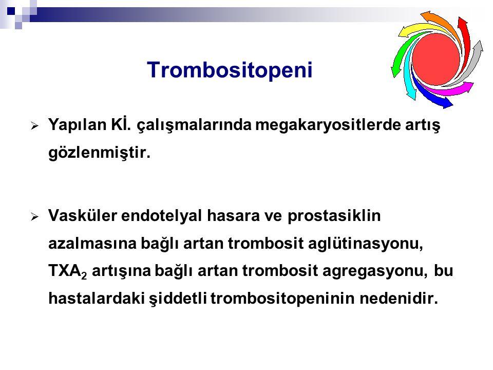 Trombositopeni  Yapılan Kİ. çalışmalarında megakaryositlerde artış gözlenmiştir.  Vasküler endotelyal hasara ve prostasiklin azalmasına bağlı artan