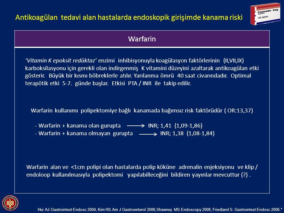 Warfarin 'Vitamin K epoksit redüktaz' enzimi inhibisyonuyla koagülasyon faktörlerinin (II,VII,IX) karboksilasyonu için gerekli olan indirgenmiş K vita