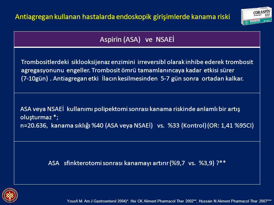 Aspirin (ASA) ve NSAEİ Trombositlerdeki siklooksijenaz enzimini irreversibl olarak inhibe ederek trombosit agregasyonunu engeller. Trombosit ömrü tama