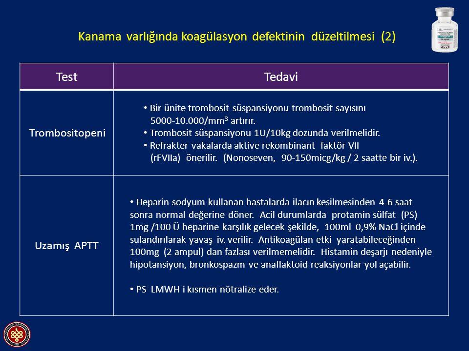 TestTedavi Trombositopeni Bir ünite trombosit süspansiyonu trombosit sayısını 5000-10.000/mm 3 artırır.