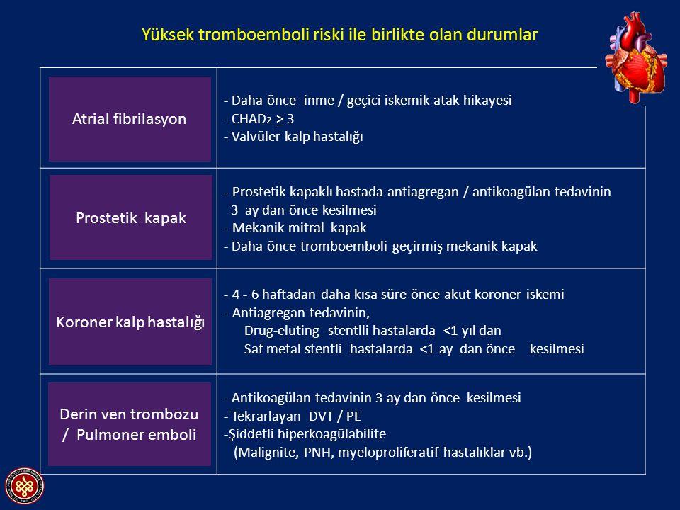 Klinik parametrePuan Konjestif kalp yetersizliği1 Hipertansiyon1 Yaş (>75)1 Diabetes mellitus1 Daha önce iskemik atak öyküsü2 AF da tromboemboli riskinin belirlenmesinde CHADS 2 skorlaması CHADS 2 ; C: Congestive Heart Failure H: Hypertension A: Age D: Diabetes mellitus S: History of stroke or transient ischemik attack