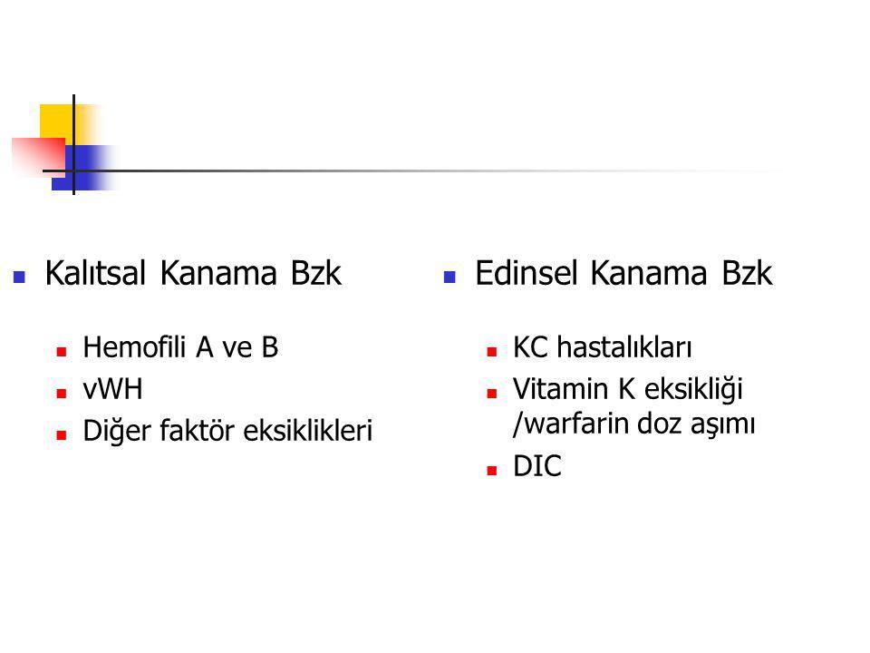 Kalıtsal Kanama Bzk Hemofili A ve B vWH Diğer faktör eksiklikleri Edinsel Kanama Bzk KC hastalıkları Vitamin K eksikliği /warfarin doz aşımı DIC