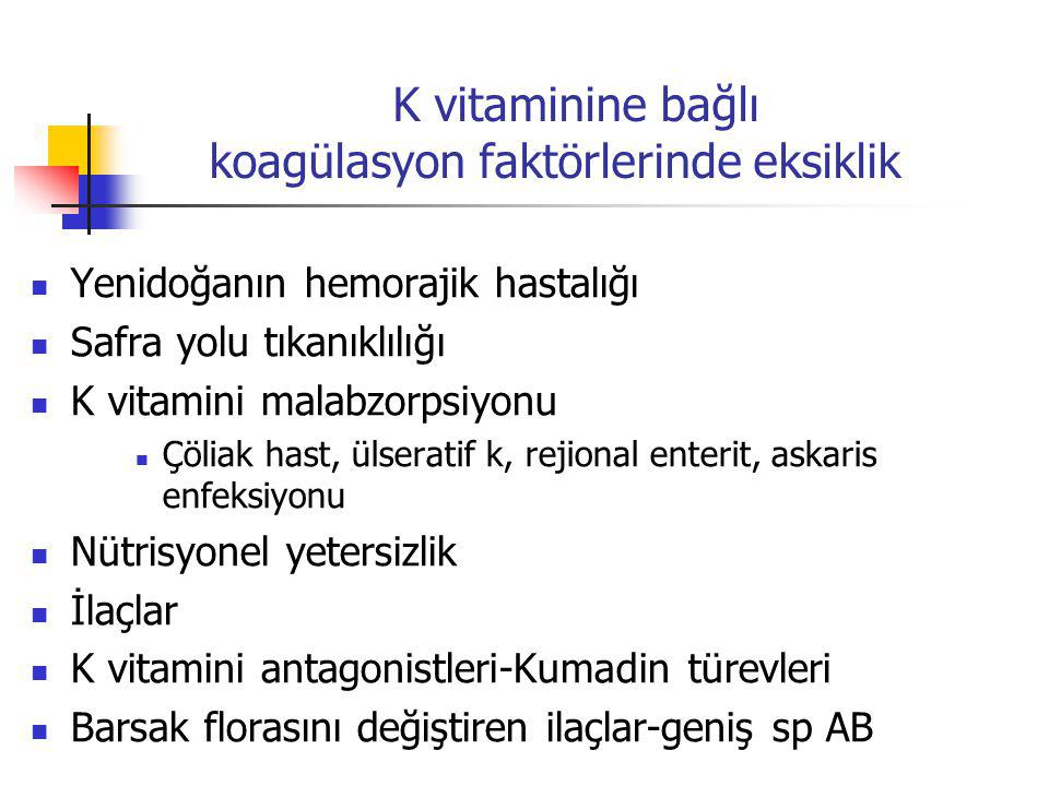 Yenidoğanın hemorajik hastalığı Safra yolu tıkanıklılığı K vitamini malabzorpsiyonu Çöliak hast, ülseratif k, rejional enterit, askaris enfeksiyonu Nü