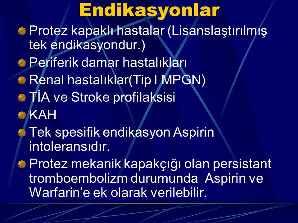 Endikasyonlar Protez kapaklı hastalar (Lisanslaştırılmış tek endikasyondur.) Periferik damar hastalıkları Renal hastalıklar(Tip I MPGN) TİA ve Stroke
