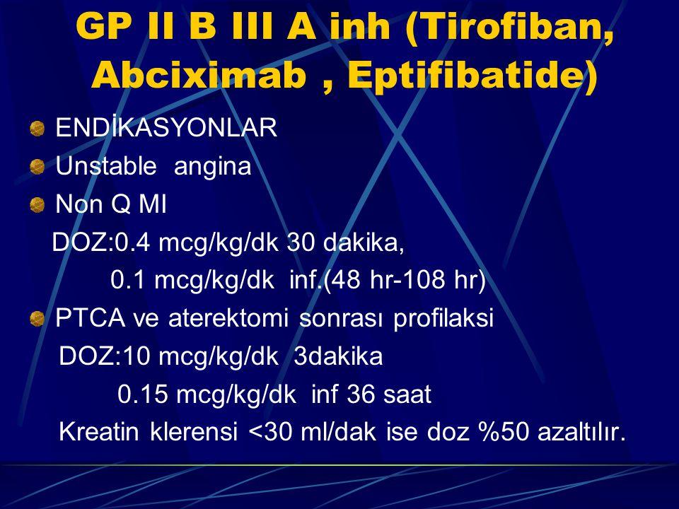 GP II B III A inh (Tirofiban, Abciximab, Eptifibatide) ENDİKASYONLAR Unstable angina Non Q MI DOZ:0.4 mcg/kg/dk 30 dakika, 0.1 mcg/kg/dk inf.(48 hr-10