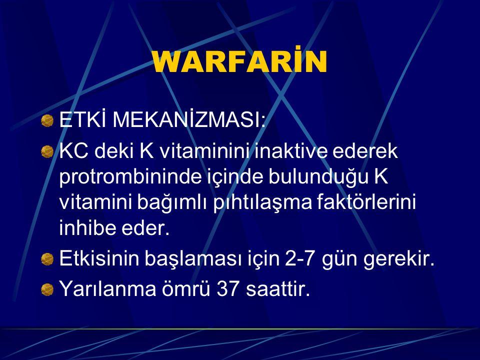 WARFARİN ETKİ MEKANİZMASI: KC deki K vitaminini inaktive ederek protrombininde içinde bulunduğu K vitamini bağımlı pıhtılaşma faktörlerini inhibe eder