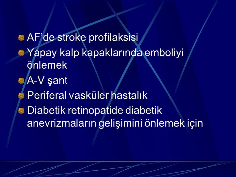 AF'de stroke profilaksisi Yapay kalp kapaklarında emboliyi önlemek A-V şant Periferal vasküler hastalık Diabetik retinopatide diabetik anevrizmaların