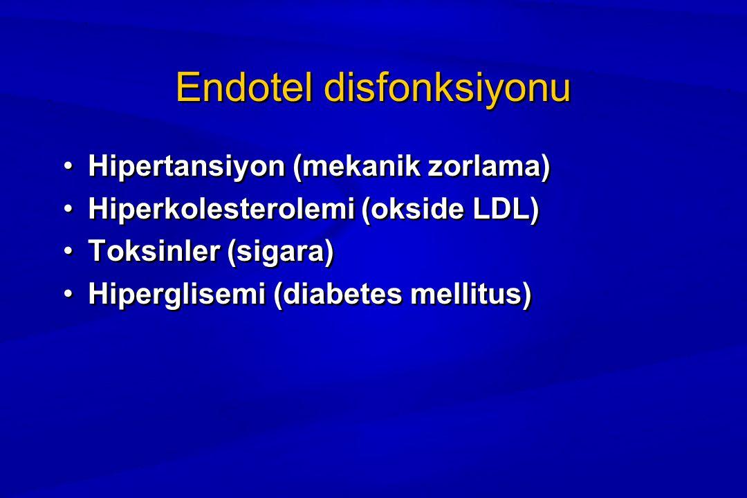 Endotel disfonksiyonu Hipertansiyon (mekanik zorlama) Hiperkolesterolemi (okside LDL) Toksinler (sigara) Hiperglisemi (diabetes mellitus) Hipertansiyon (mekanik zorlama) Hiperkolesterolemi (okside LDL) Toksinler (sigara) Hiperglisemi (diabetes mellitus)