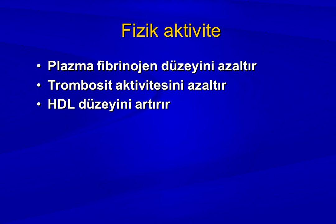 Fizik aktivite Plazma fibrinojen düzeyini azaltır Trombosit aktivitesini azaltır HDL düzeyini artırır Plazma fibrinojen düzeyini azaltır Trombosit aktivitesini azaltır HDL düzeyini artırır