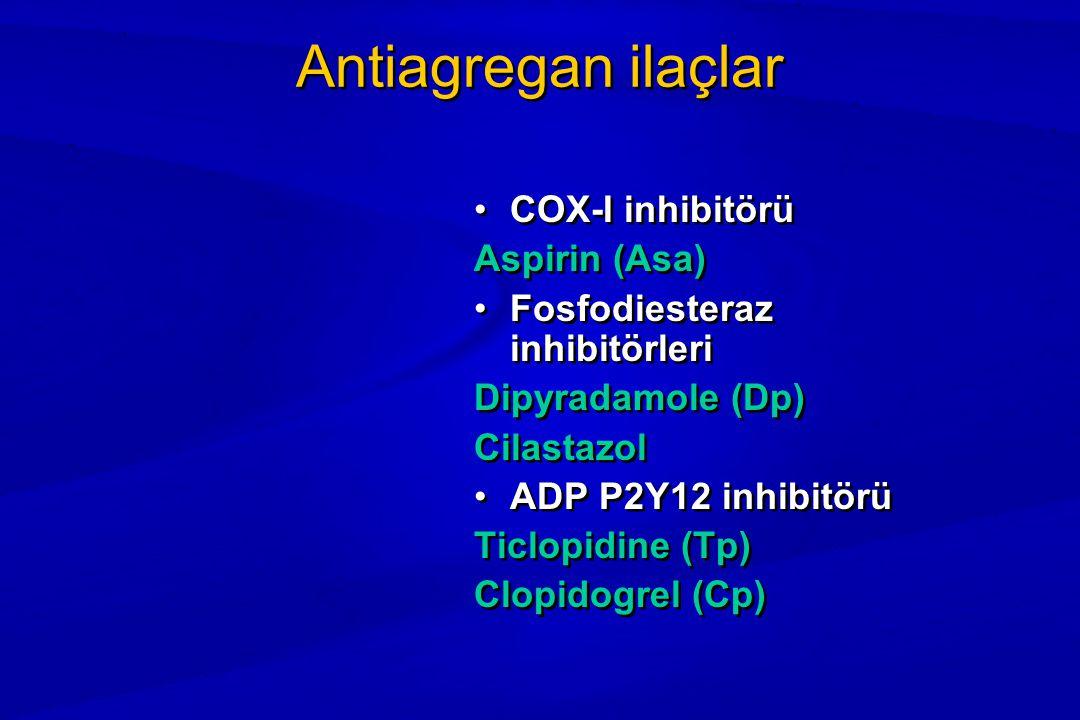 Antiagregan ilaçlar COX-I inhibitörü Aspirin (Asa) Fosfodiesteraz inhibitörleri Dipyradamole (Dp) Cilastazol ADP P2Y12 inhibitörü Ticlopidine (Tp) Clopidogrel (Cp)