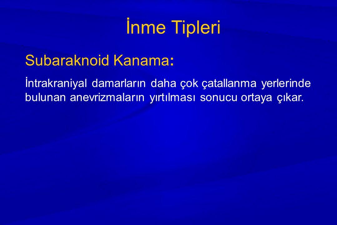 İnme Tipleri Subaraknoid Kanama: İntrakraniyal damarların daha çok çatallanma yerlerinde bulunan anevrizmaların yırtılması sonucu ortaya çıkar.