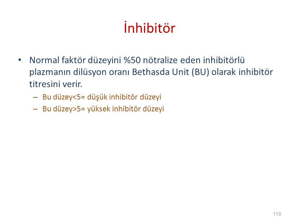 Normal faktör düzeyini %50 nötralize eden inhibitörlü plazmanın dilüsyon oranı Bethasda Unit (BU) olarak inhibitör titresini verir.