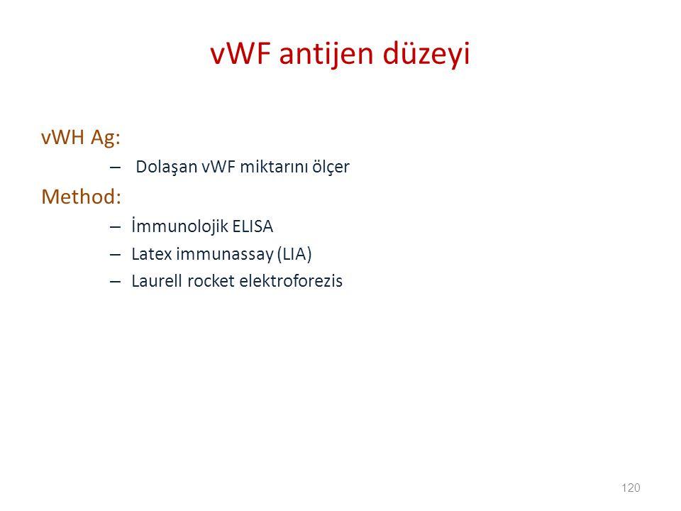 vWH Ag: – Dolaşan vWF miktarını ölçer Method: – İmmunolojik ELISA – Latex immunassay (LIA) – Laurell rocket elektroforezis vWF antijen düzeyi 120