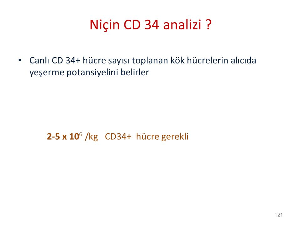 Canlı CD 34+ hücre sayısı toplanan kök hücrelerin alıcıda yeşerme potansiyelini belirler Niçin CD 34 analizi .