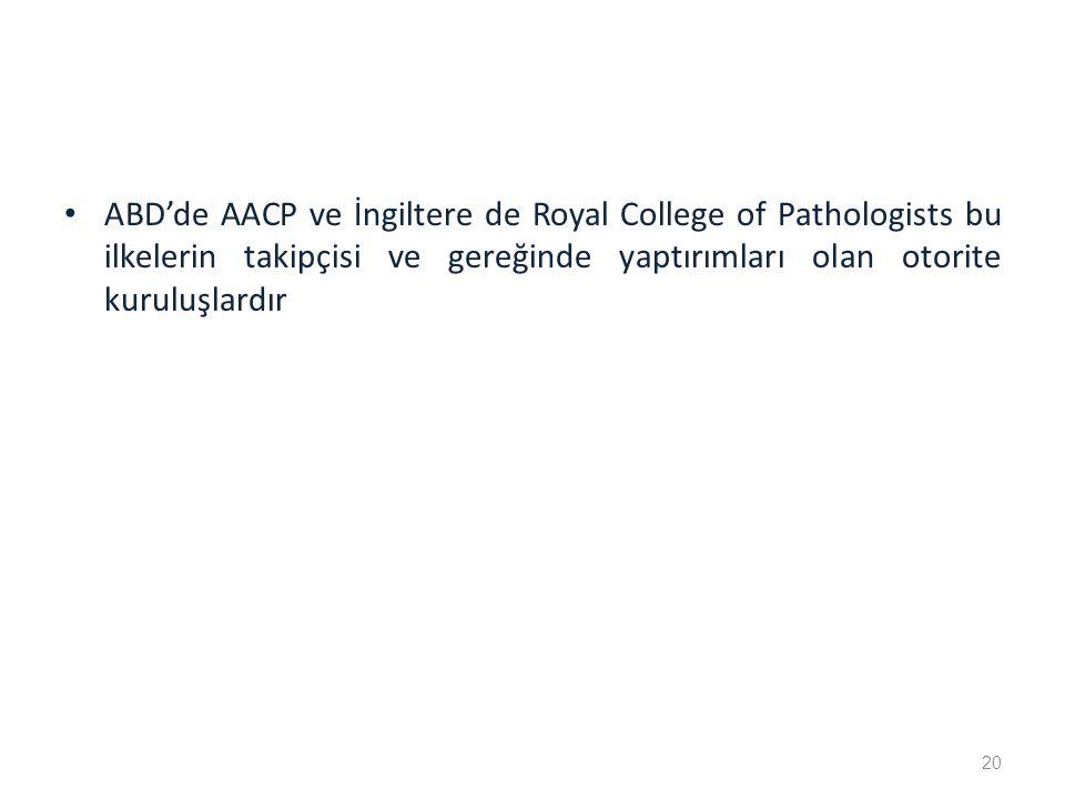 ABD'de AACP ve İngiltere de Royal College of Pathologists bu ilkelerin takipçisi ve gereğinde yaptırımları olan otorite kuruluşlardır 20