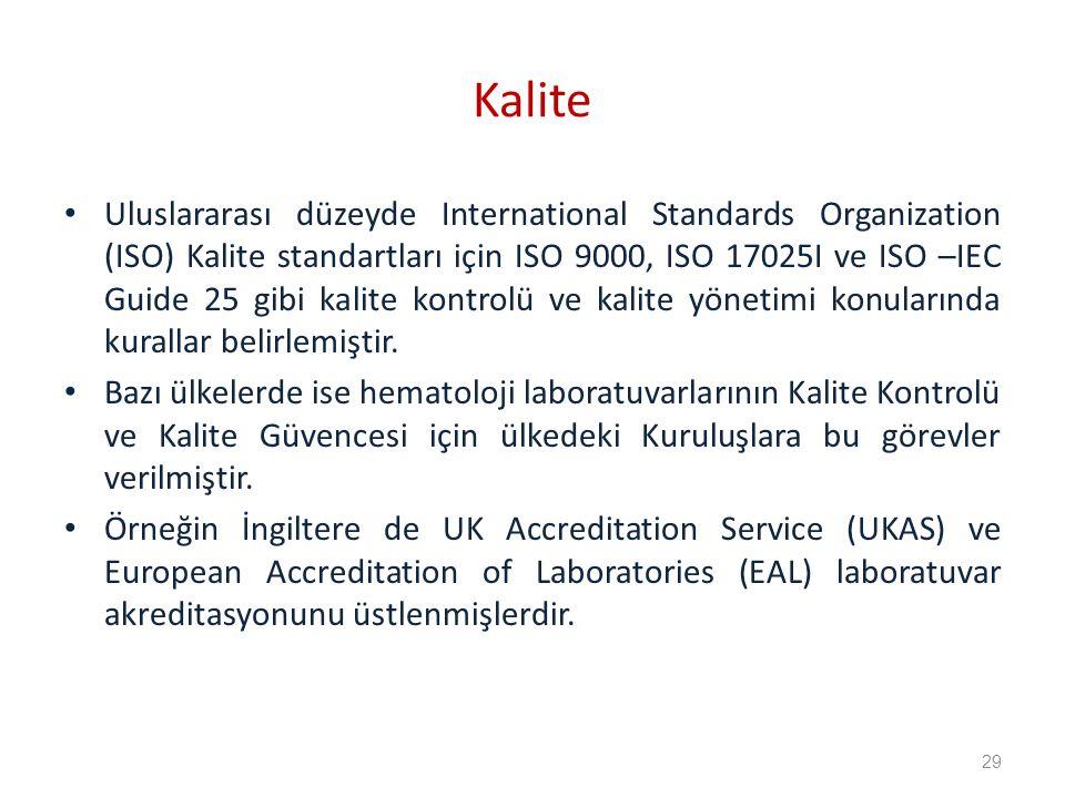 Kalite Uluslararası düzeyde International Standards Organization (ISO) Kalite standartları için ISO 9000, ISO 17025I ve ISO –IEC Guide 25 gibi kalite kontrolü ve kalite yönetimi konularında kurallar belirlemiştir.
