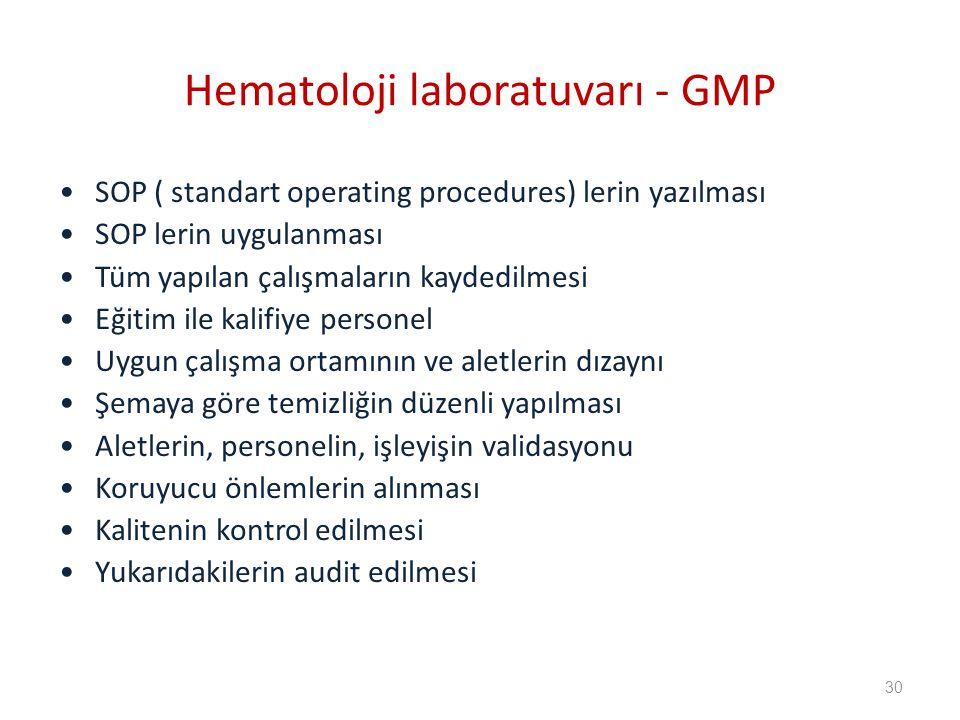 SOP ( standart operating procedures) lerin yazılması SOP lerin uygulanması Tüm yapılan çalışmaların kaydedilmesi Eğitim ile kalifiye personel Uygun çalışma ortamının ve aletlerin dızaynı Şemaya göre temizliğin düzenli yapılması Aletlerin, personelin, işleyişin validasyonu Koruyucu önlemlerin alınması Kalitenin kontrol edilmesi Yukarıdakilerin audit edilmesi Hematoloji laboratuvarı - GMP 30