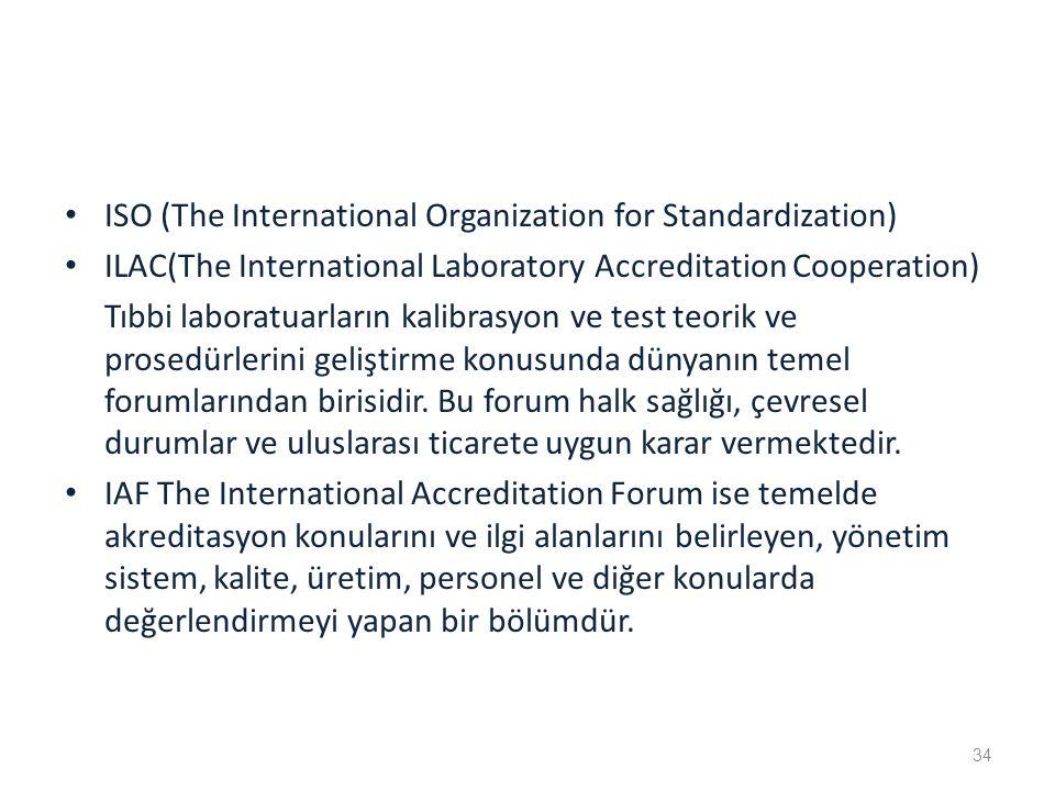 ISO (The International Organization for Standardization) ILAC(The International Laboratory Accreditation Cooperation) Tıbbi laboratuarların kalibrasyon ve test teorik ve prosedürlerini geliştirme konusunda dünyanın temel forumlarından birisidir.
