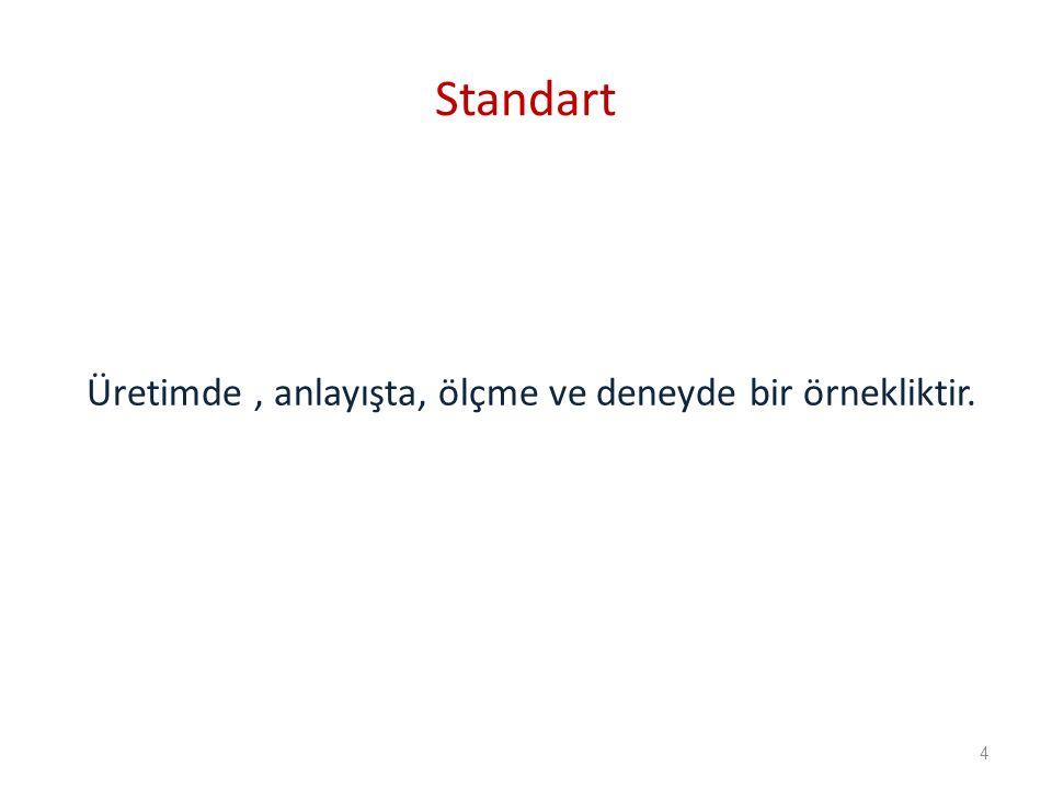 Standart Üretimde, anlayışta, ölçme ve deneyde bir örnekliktir. 4