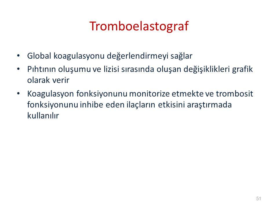 Global koagulasyonu değerlendirmeyi sağlar Pıhtının oluşumu ve lizisi sırasında oluşan değişiklikleri grafik olarak verir Koagulasyon fonksiyonunu monitorize etmekte ve trombosit fonksiyonunu inhibe eden ilaçların etkisini araştırmada kullanılır Tromboelastograf 51