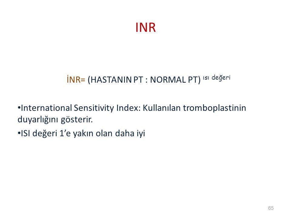 İNR= (HASTANIN PT : NORMAL PT) ısı değeri International Sensitivity Index: Kullanılan tromboplastinin duyarlığını gösterir.