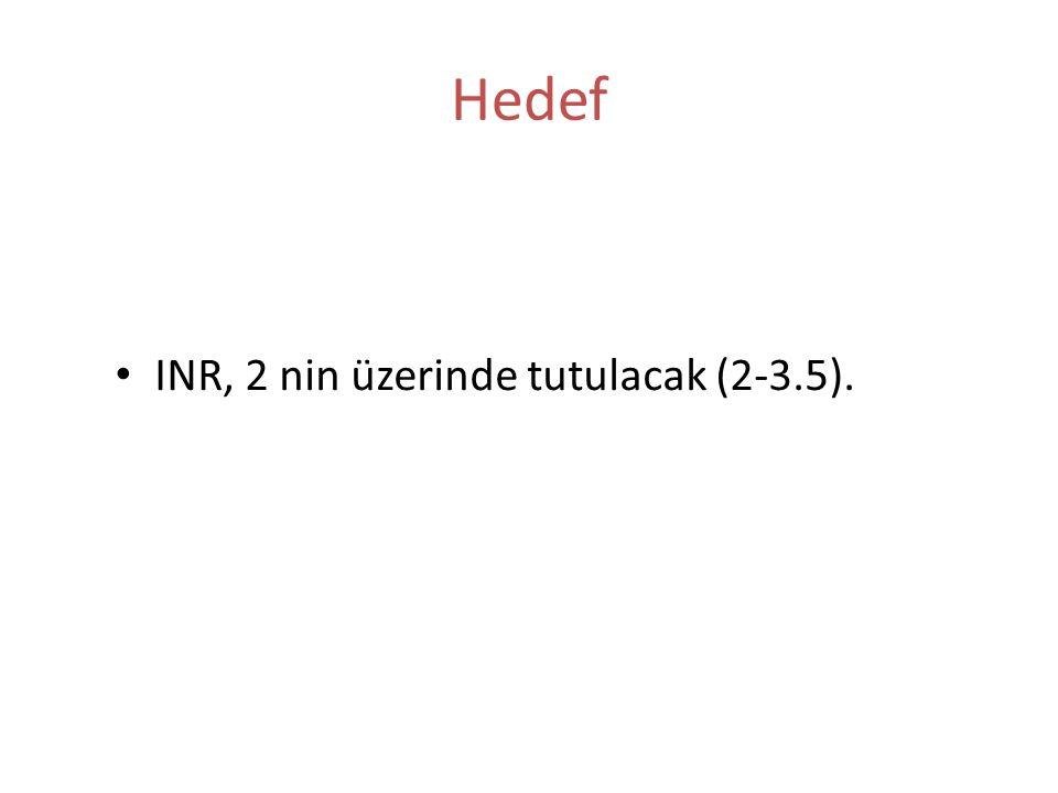 Hedef INR, 2 nin üzerinde tutulacak (2-3.5).