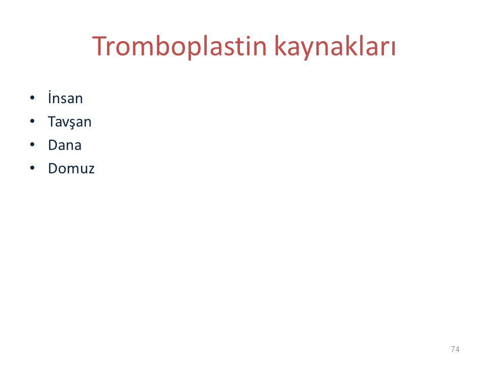 Tromboplastin kaynakları İnsan Tavşan Dana Domuz 74