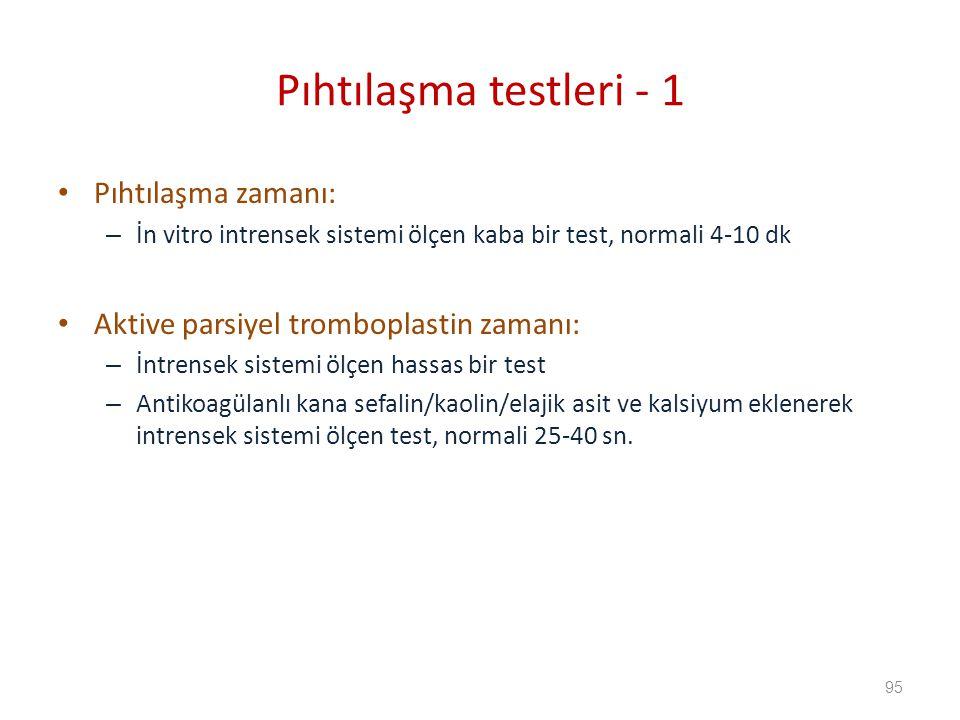 Pıhtılaşma zamanı: – İn vitro intrensek sistemi ölçen kaba bir test, normali 4-10 dk Aktive parsiyel tromboplastin zamanı: – İntrensek sistemi ölçen hassas bir test – Antikoagülanlı kana sefalin/kaolin/elajik asit ve kalsiyum eklenerek intrensek sistemi ölçen test, normali 25-40 sn.