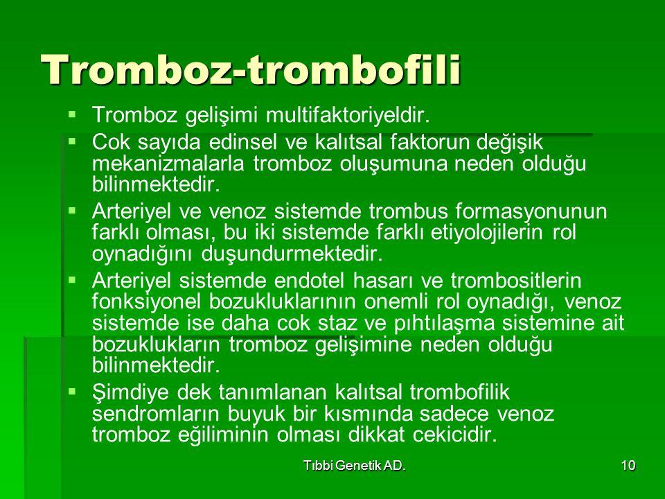 Tıbbi Genetik AD.10 Tromboz-trombofili   Tromboz gelişimi multifaktoriyeldir.