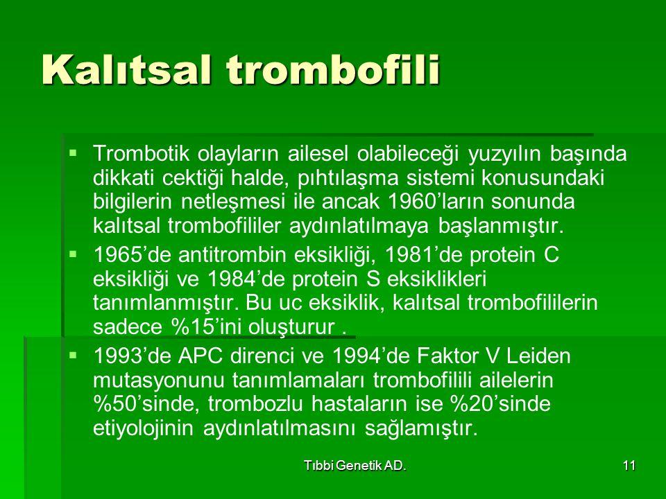 Tıbbi Genetik AD.11 Kalıtsal trombofili   Trombotik olayların ailesel olabileceği yuzyılın başında dikkati cektiği halde, pıhtılaşma sistemi konusundaki bilgilerin netleşmesi ile ancak 1960'ların sonunda kalıtsal trombofililer aydınlatılmaya başlanmıştır.