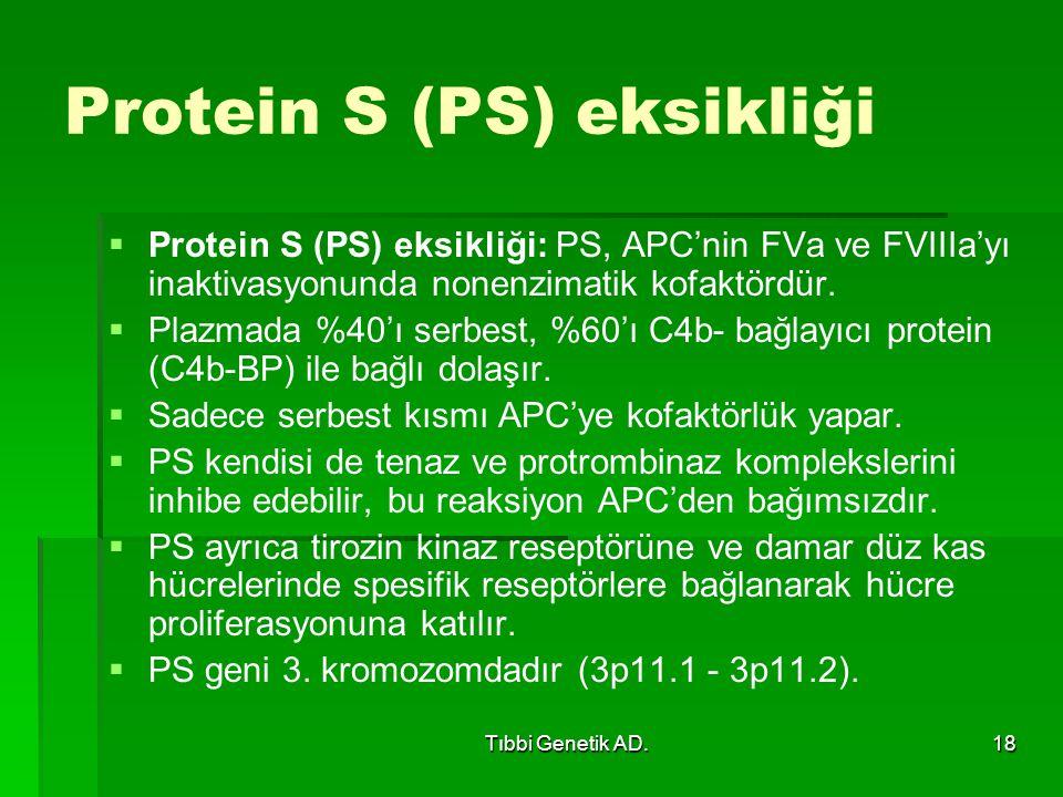 Tıbbi Genetik AD.18 Protein S (PS) eksikliği   Protein S (PS) eksikliği: PS, APC'nin FVa ve FVIIIa'yı inaktivasyonunda nonenzimatik kofaktördür.