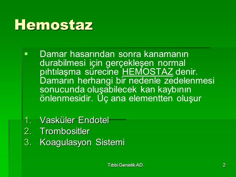 Tıbbi Genetik AD.2 Hemostaz   Damar hasarından sonra kanamanın durabilmesi için gerçekleşen normal pıhtılaşma sürecine HEMOSTAZ denir. Damarın herha