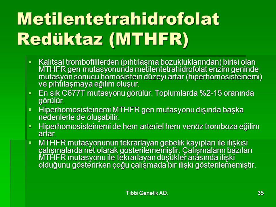 Tıbbi Genetik AD.35 Metilentetrahidrofolat Redüktaz (MTHFR)  Kalıtsal trombofililerden (pıhtılaşma bozukluklarından) birisi olan MTHFR gen mutasyonunda metilentetrahidrofolat enzim geninde mutasyon sonucu homosistein düzeyi artar (hiperhomosisteinemi) ve pıhtılaşmaya eğilim oluşur.