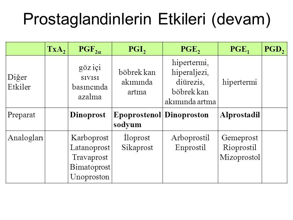 TxA 2 PGF 2  PGI 2 PGE 2 PGE 1 PGD 2 Diğer Etkiler göz içi sıvısı basıncında azalma böbrek kan akımında artma hipertermi, hiperaljezi, diürezis, böbr