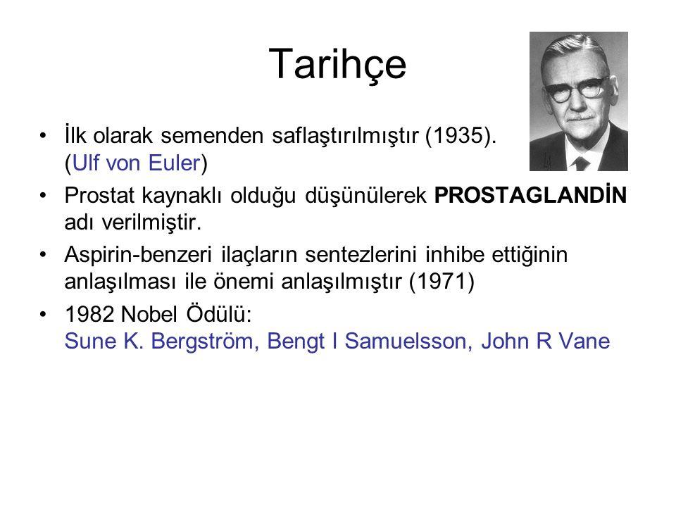 Tarihçe İlk olarak semenden saflaştırılmıştır (1935). (Ulf von Euler) Prostat kaynaklı olduğu düşünülerek PROSTAGLANDİN adı verilmiştir. Aspirin-benze