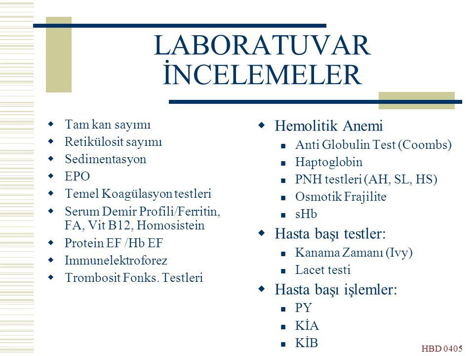 HBD 0405 LABORATUVAR İNCELEMELER  Tam kan sayımı  Retikülosit sayımı  Sedimentasyon  EPO  Temel Koagülasyon testleri  Serum Demir Profili/Ferrit